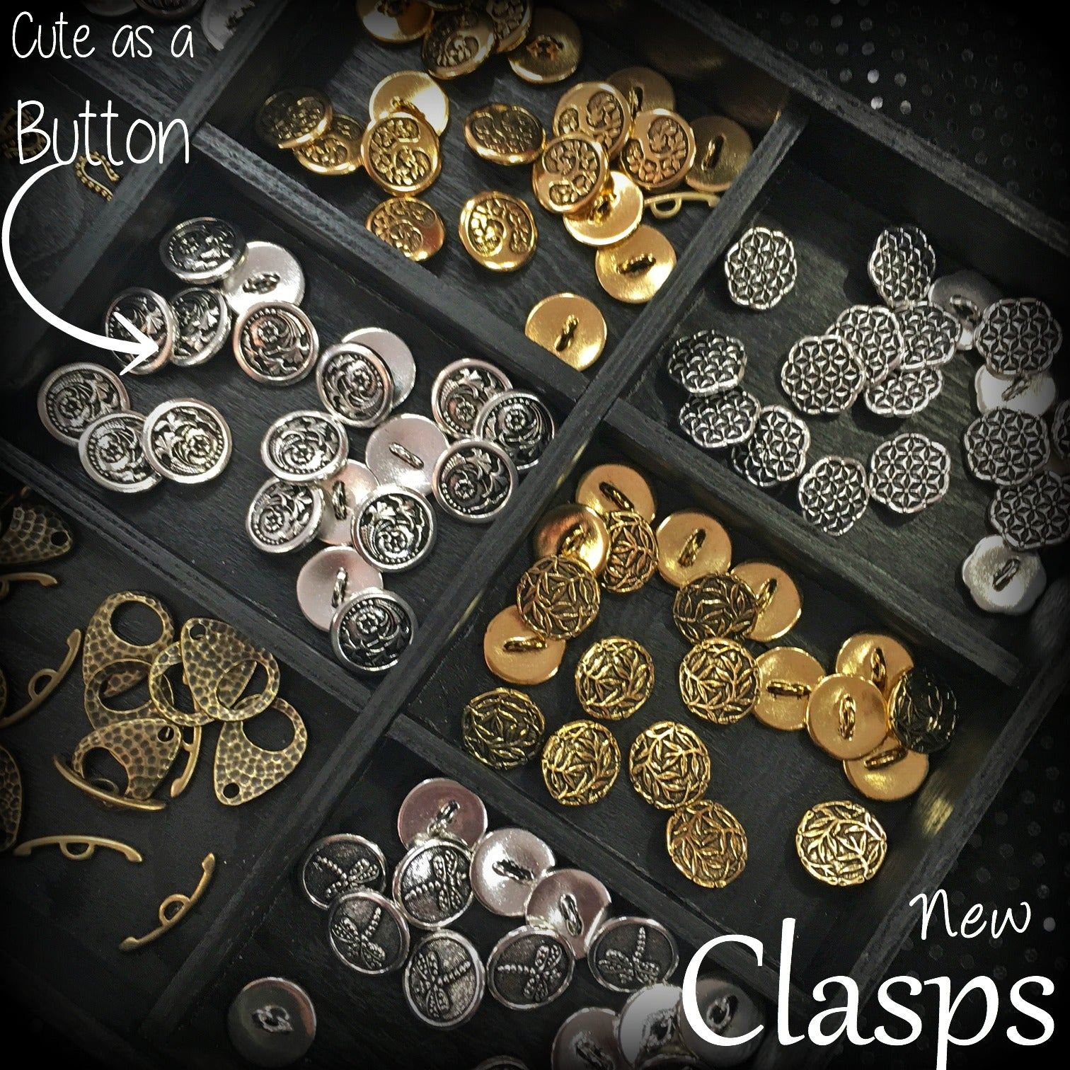 TierraCast button clasps in gold and silver metal now available at Jesse James Beads