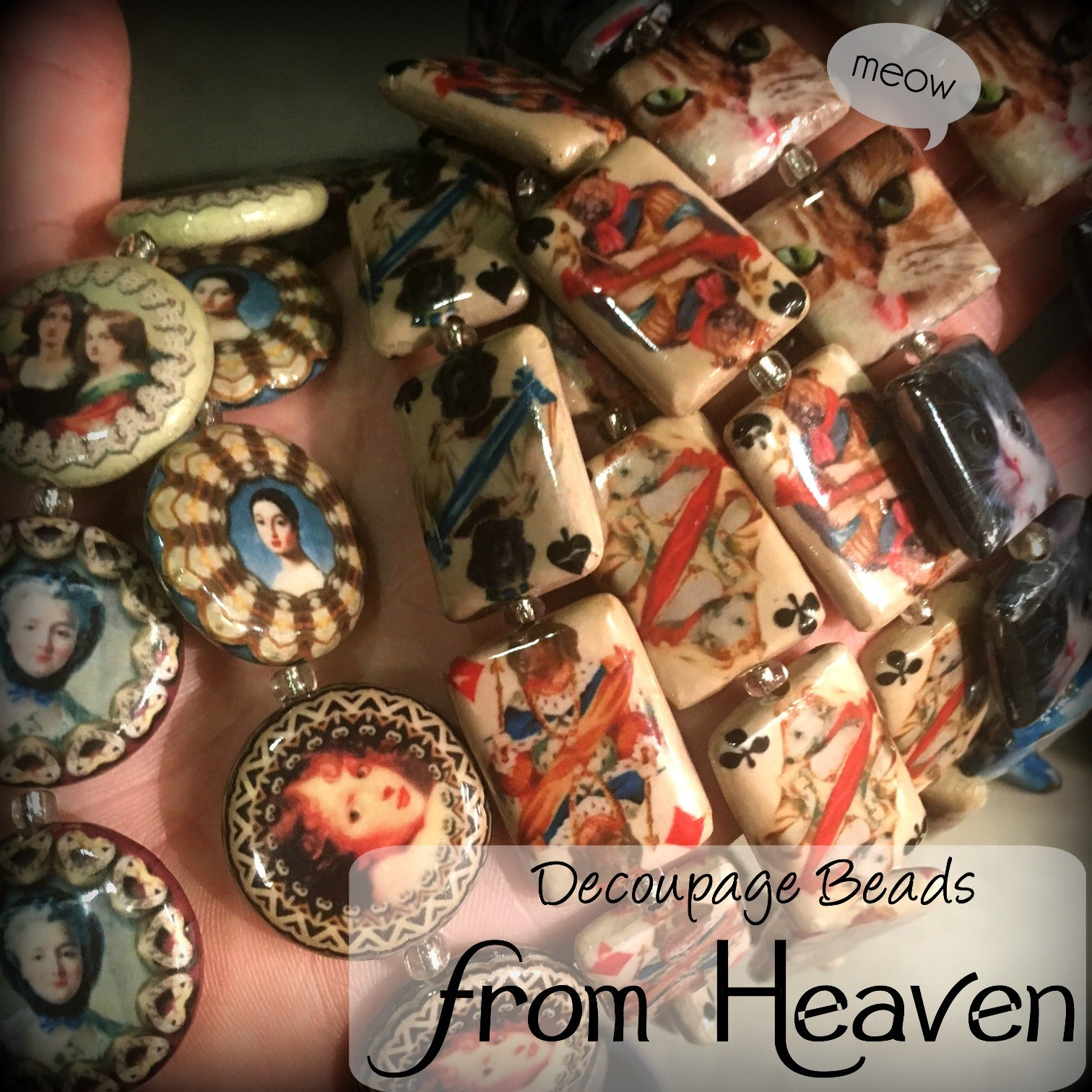 Graphic Decoupage Beads - Wooden Beads New to the Jesse James Beads line