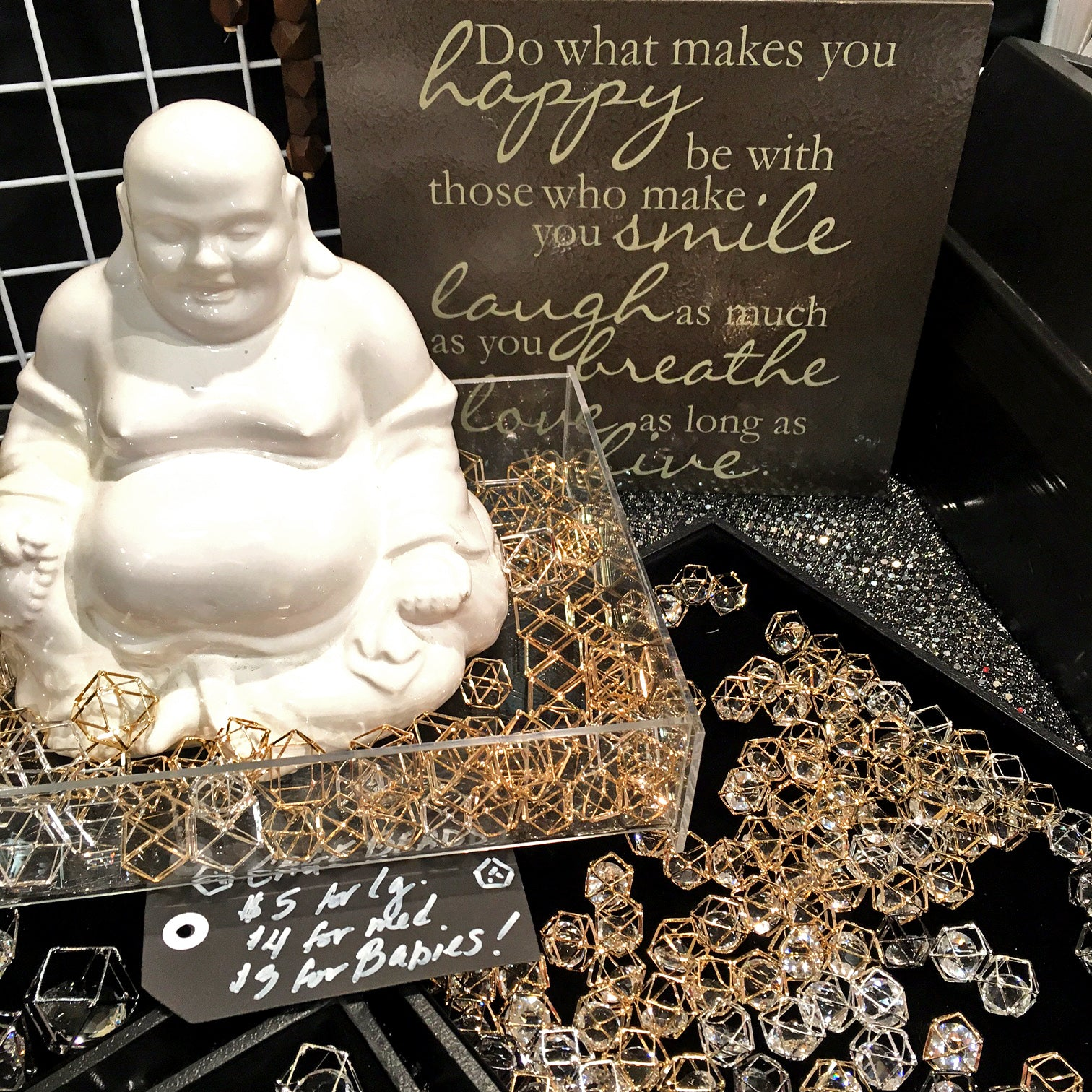 Buddha loves to bead - Geometric beads for jewelry making - unique booth setup display idea from Jesse James Beads