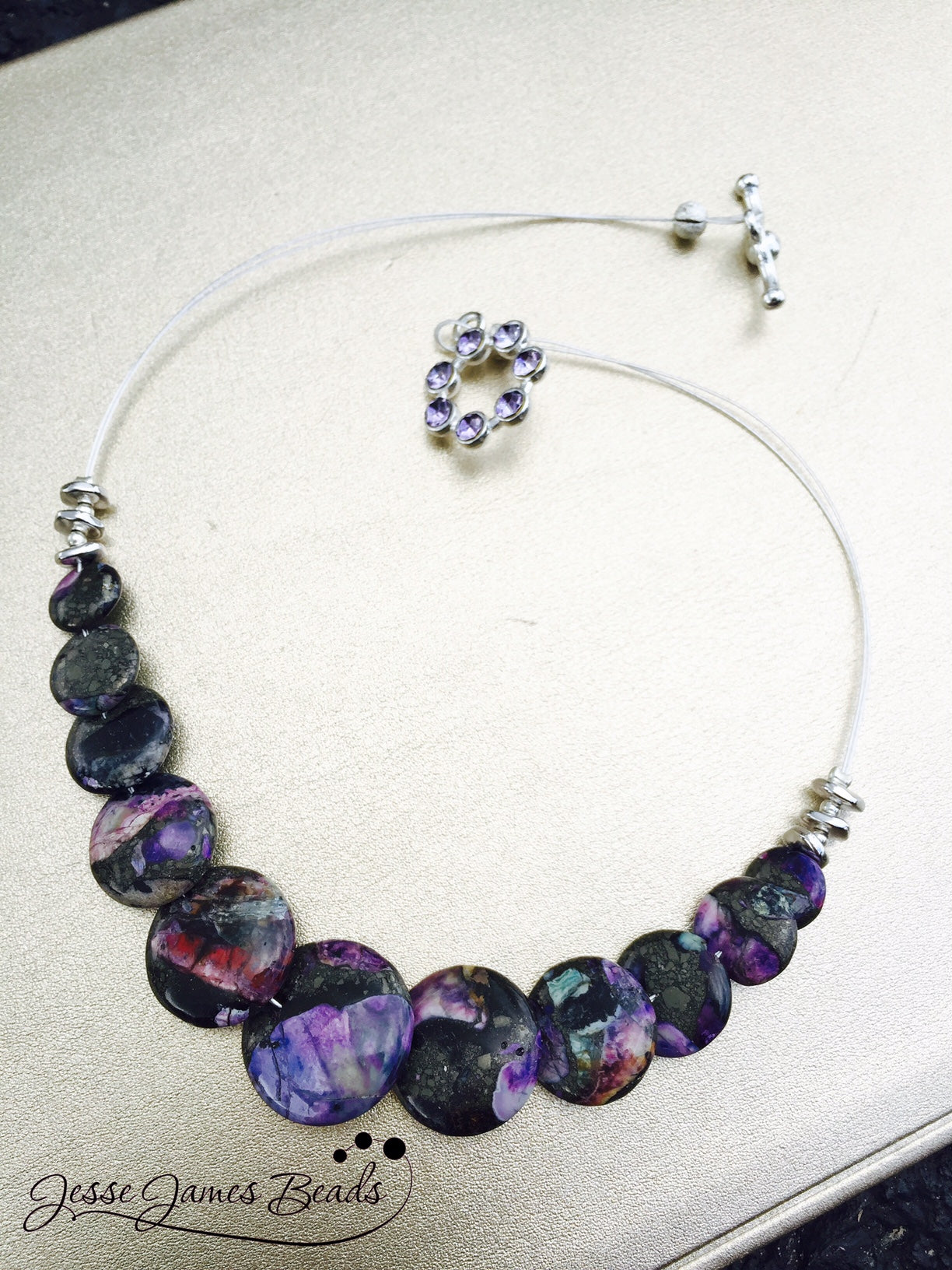 Guitar Wire Inspired Jewelry - Purple Rain Necklace Project from Jesse James Beads and Candie Cooper