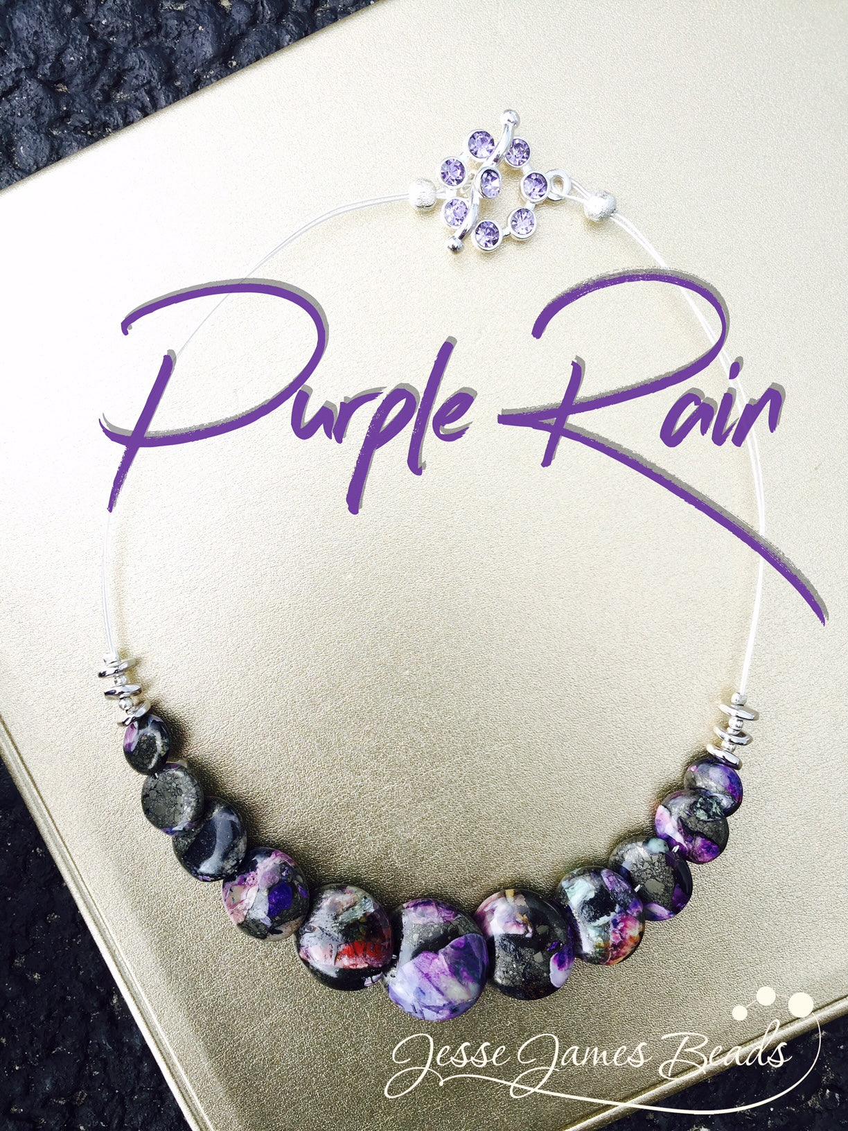 Purple Rain Necklace - Choker Necklace Homage for Prince - Candie Cooper for Jesse James Beads