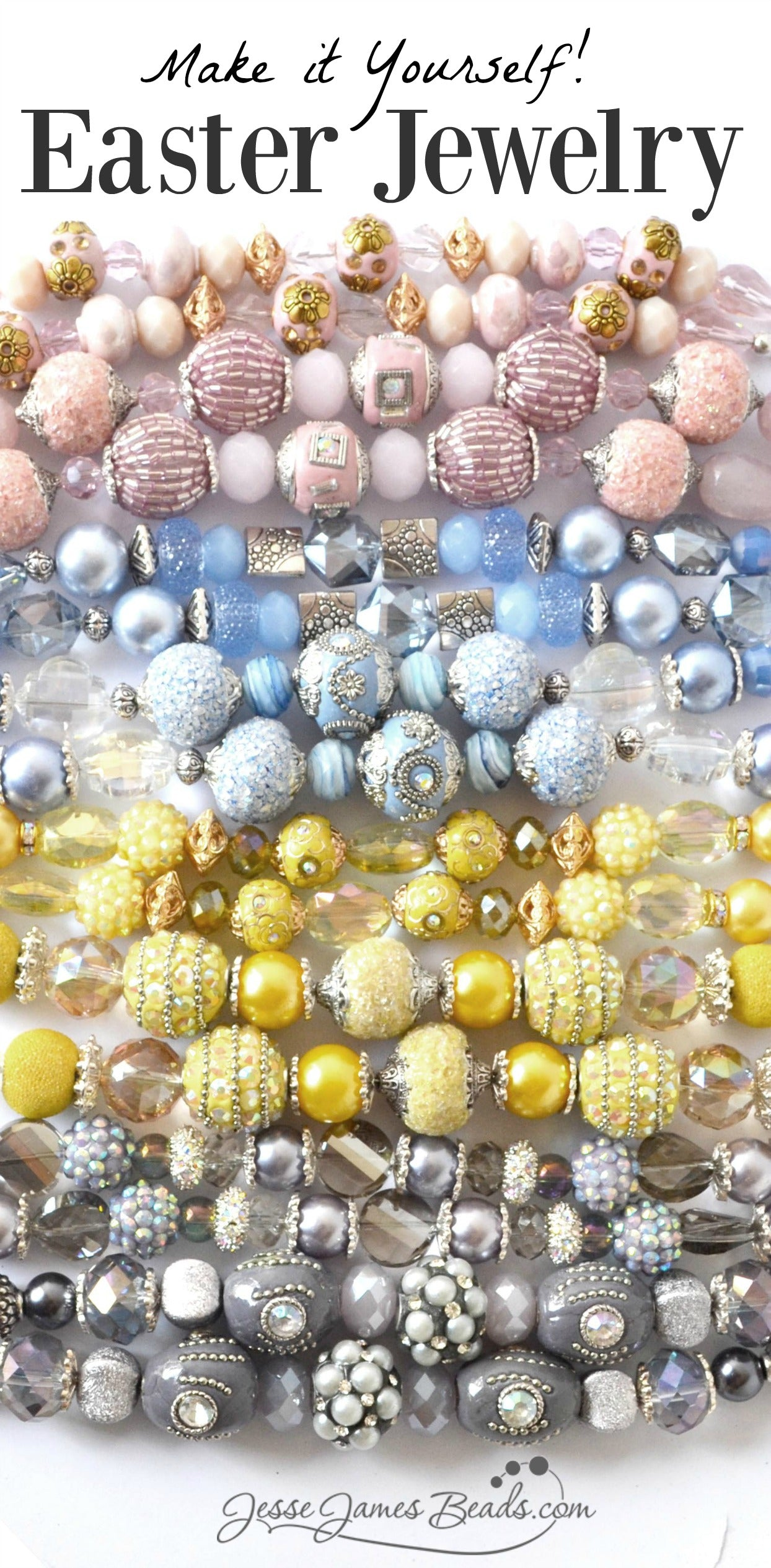Make Easter Jewelry - Pastel beads for making springtime jewelry and spring crafts