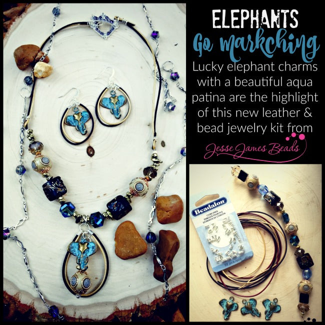 Make an elephant necklace and earring set with Jesse James Beads Kit
