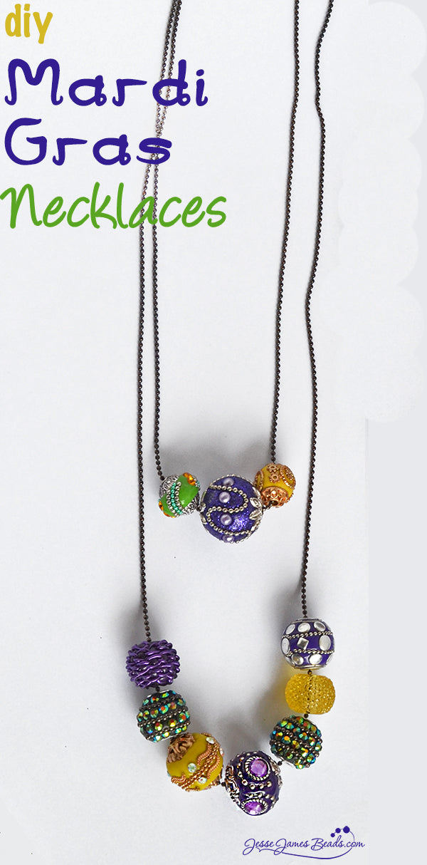 Mardi Gras Necklaces Pin by Jesse James Beads