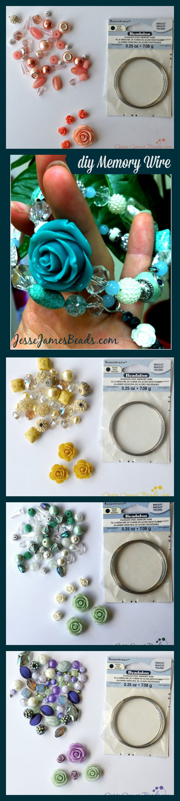 Mothers Day DIY Gift Idea - Floral Memory Wire Bracelet Kits from Jesse James Beads