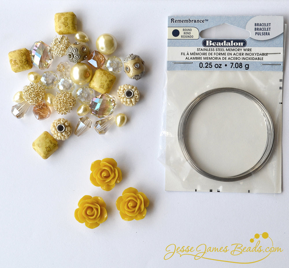 Mothers Day DIY Gift Idea - How to Make a Memory Wire Bracelet - Buttercup Yellow Bead Kit from Jesse James Beads