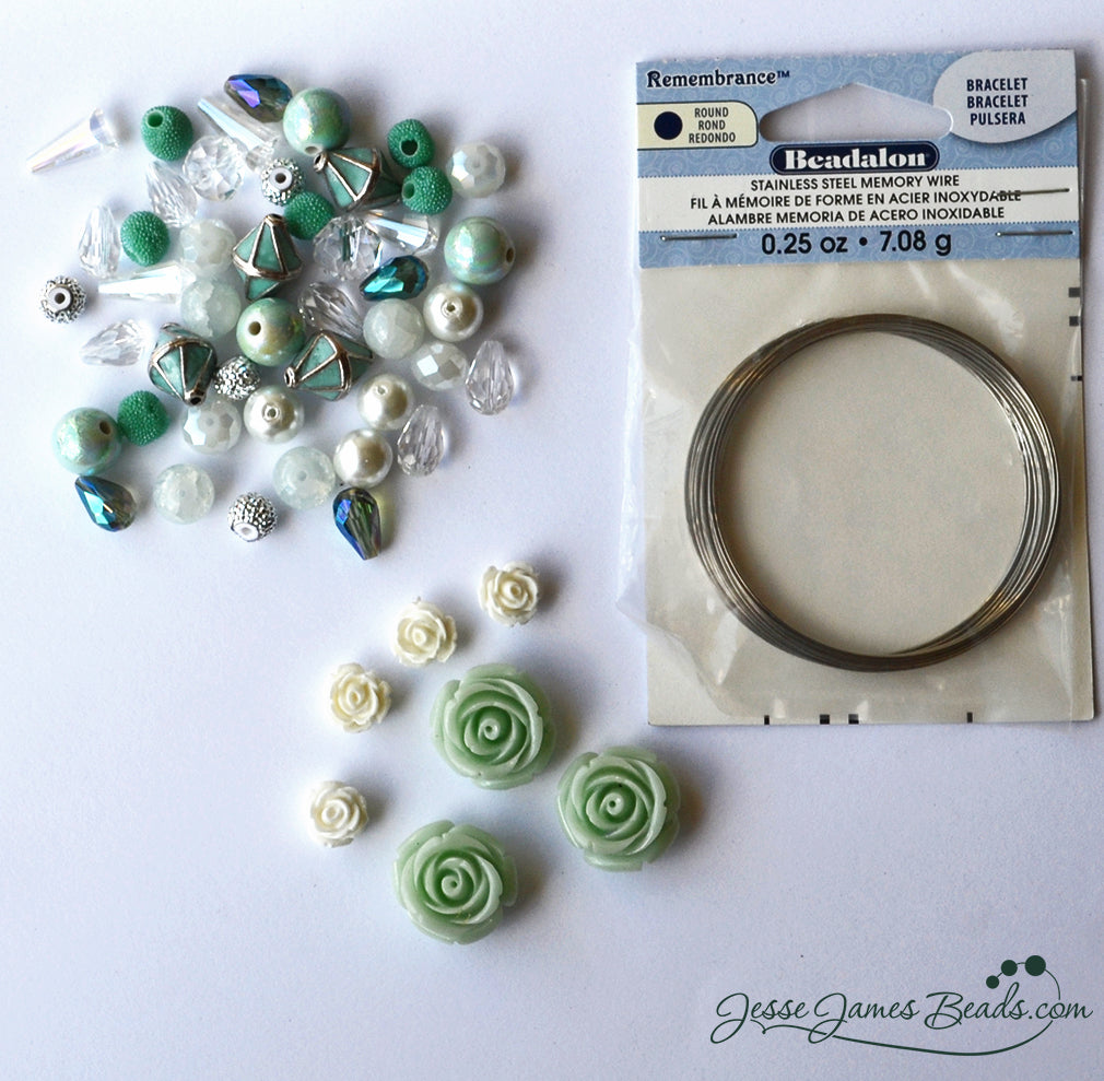 Mothers Day DIY Gift Idea - How to Make a Memory Wire Bracelet - Swimming in the Seafoam Green Bead Kit from Jesse James Beads.jpg