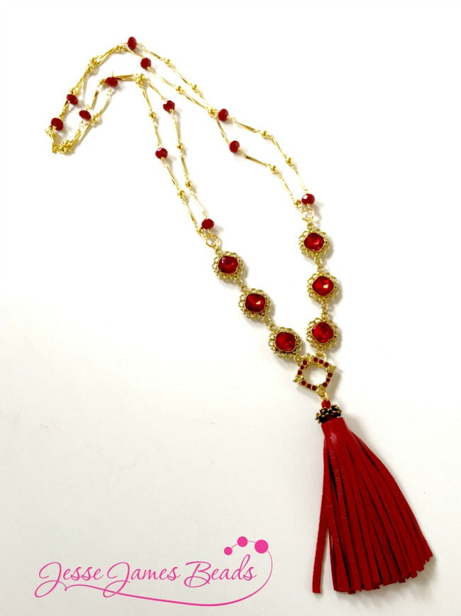 Red Leather Tassel Necklace from Jesse James Beads-your source for unique everything