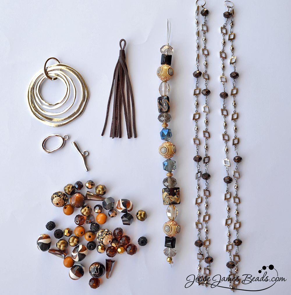 Trendy jewelry pendant and tassel kit for jewelry making in silver - Silver beaded chain and brown bead mix for jewelry design - From Jesse James Beads