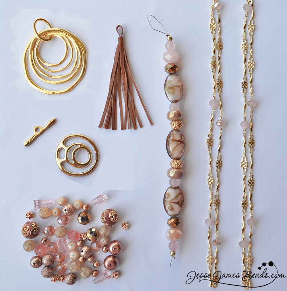 Trendy pendant and tassel bead kit for jewelry making - Champagne Rose and Gold Bead Kit from Jesse James Beads