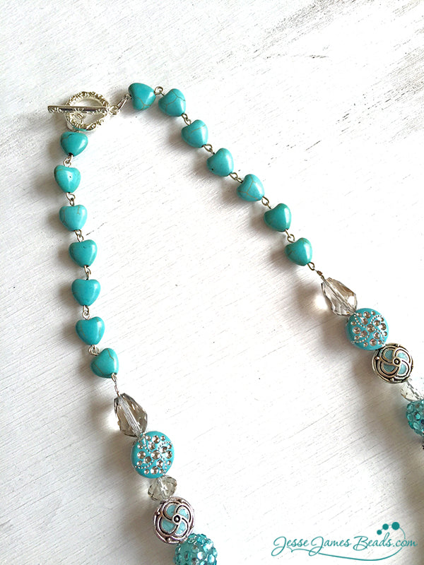 Tucson Love Necklace Project - Turquoise Heart Chain - Jesse James Beads and Candie Cooper