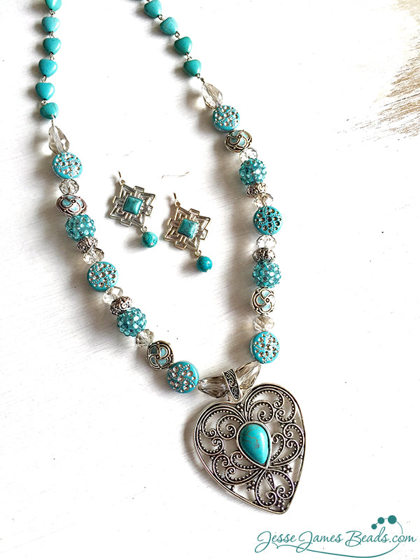 Tucson Love Turquoise and Silver Pendant Necklace Project by Candie Cooper for Jesse James Beads