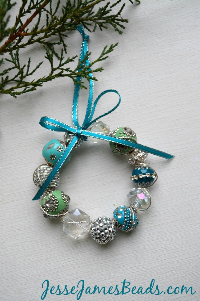Beaded Wreath Ornament from JesseJamesBeads.com