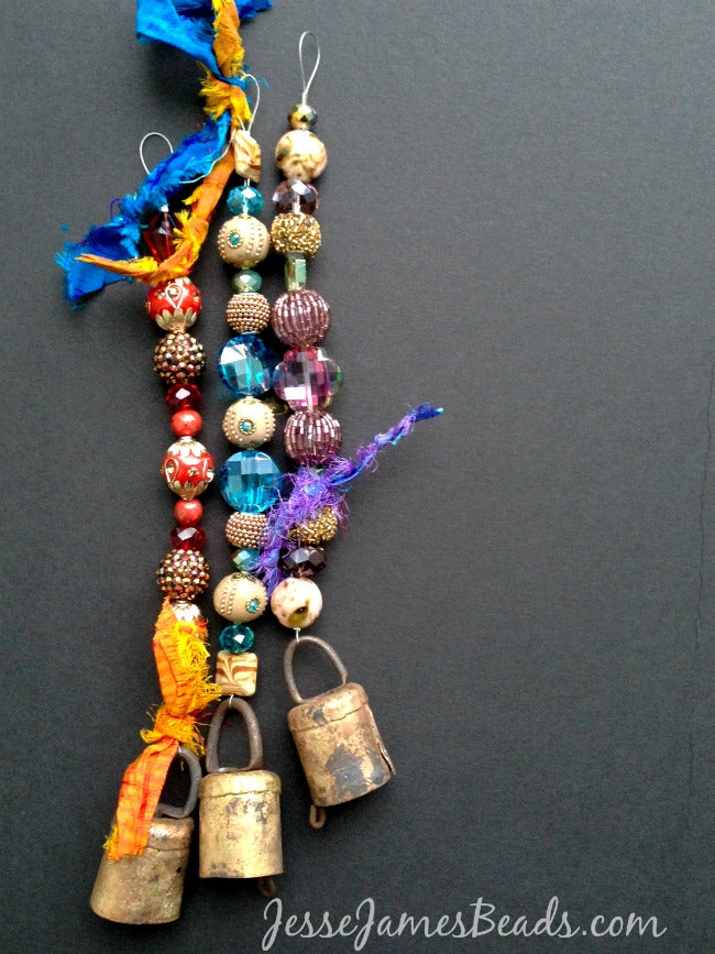 Energy Bells with Sari Silk Ribbon and Jesse James Beads
