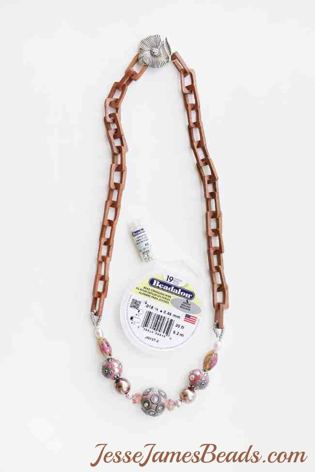 JesseJamesBeads.com Easy Jewelry with unique wood chain and beads