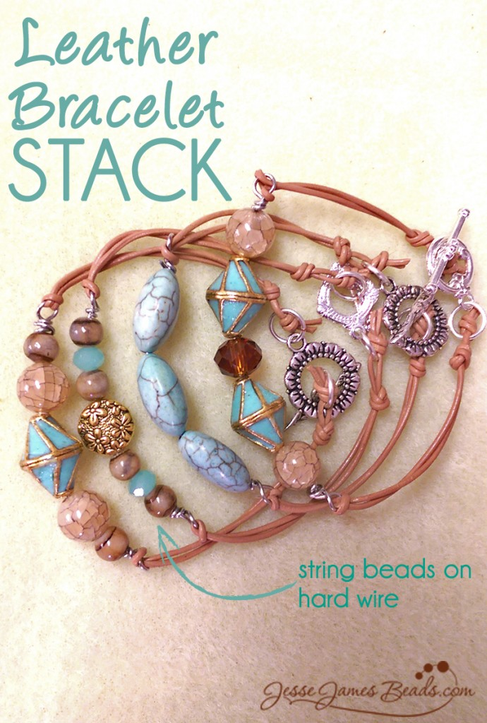 leather beaded bracelet stack from jesse james beads