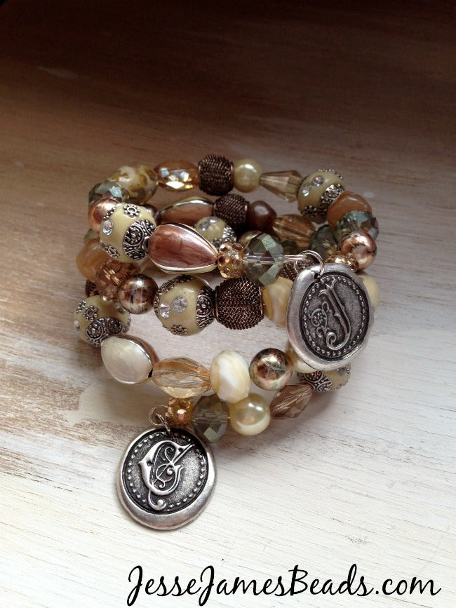 Memory Wire Bracelet with Charms