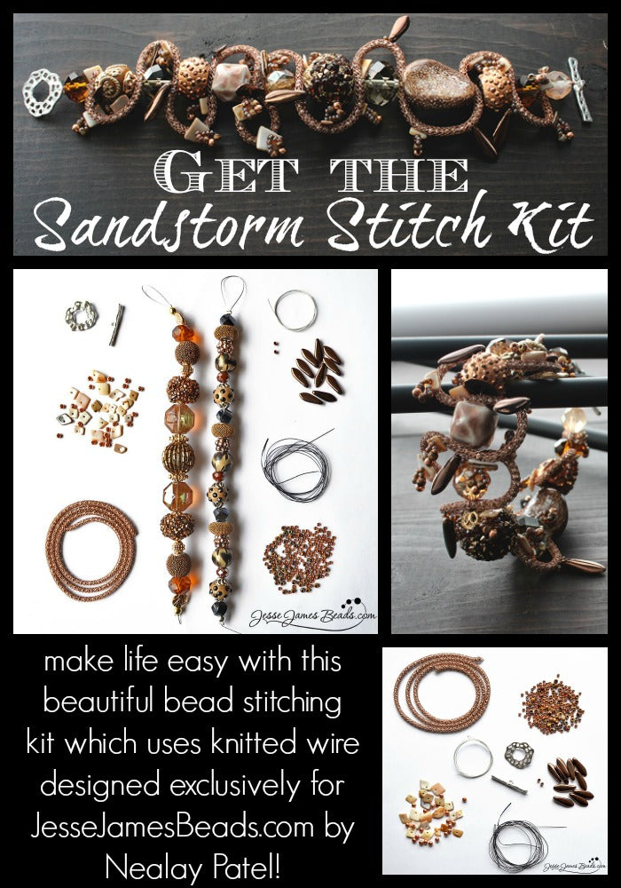 Bead Stitching kit from Jesse James Beads using knitted wire