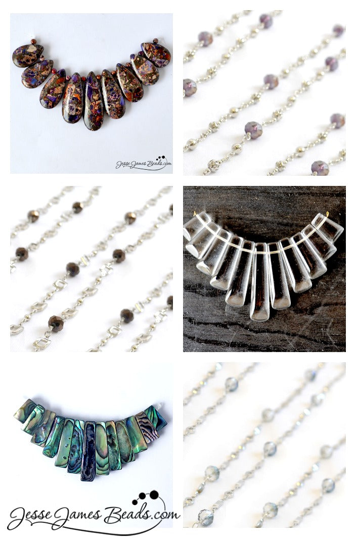 Stone jewelry ideas with fringe pendants and beaded chain from Jesse James Beads