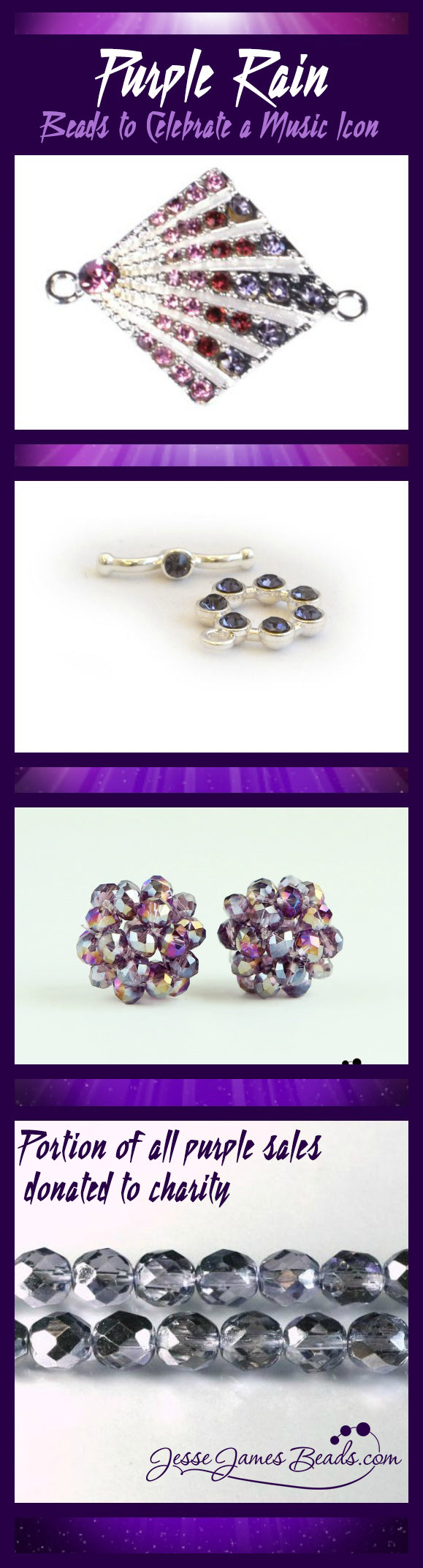 Purple beads to celebrate Prince - 10% of all purple sales will be donated in Prince's honor to Beads of Courage Charity