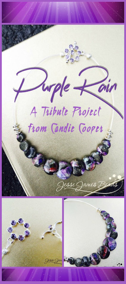 Purple Rain Necklace - How to make a  Tribute jewelry piece from Candie Cooper and Jesse James Beads
