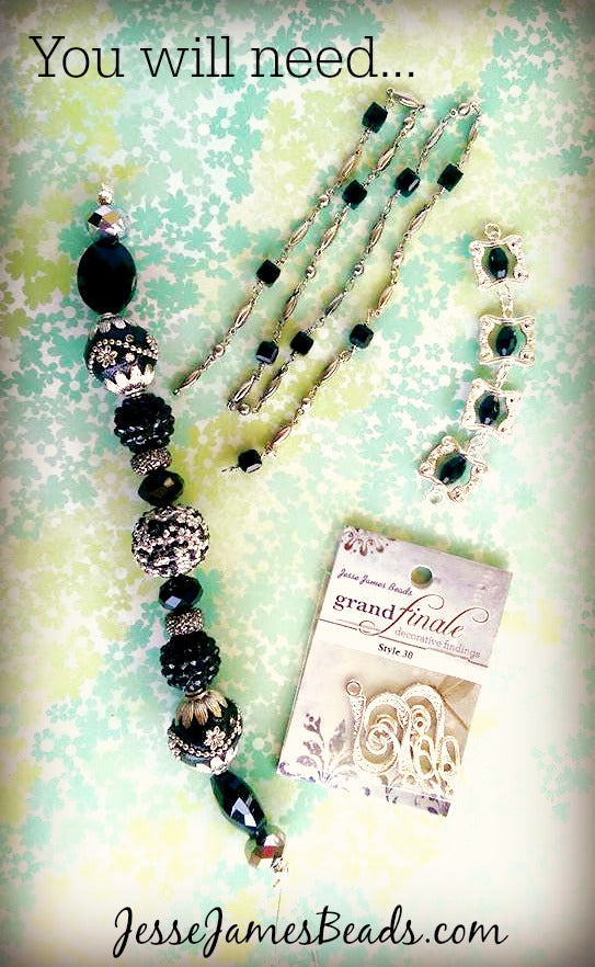 Unusual black and silver beads and findings