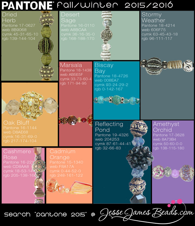 Pantone Beads for Fall Jewelry, starting at 5.99 per strand
