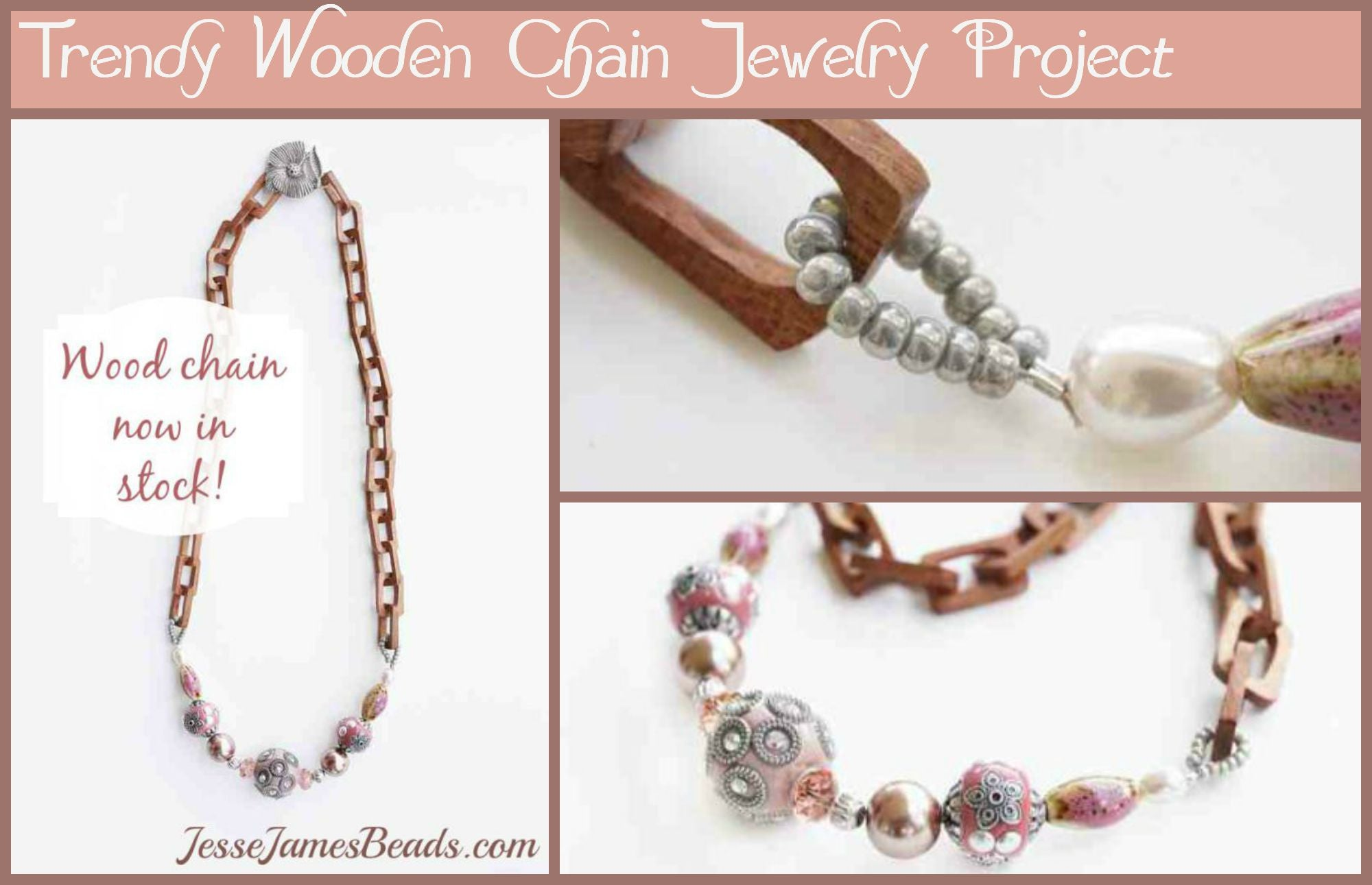 Trend Jewelry - Wooden Chain necklace with beads in Cashmere Rose
