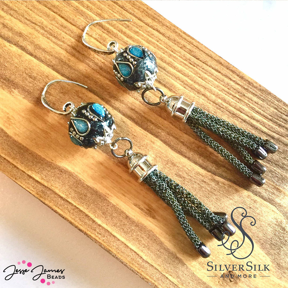 Boho Earrings made with SilverSilk