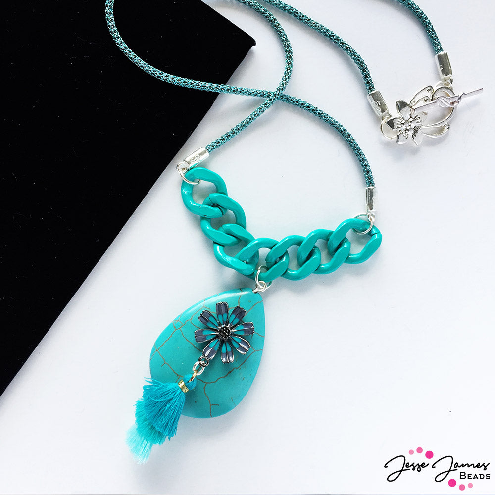 Teal necklace made with SilverSilk