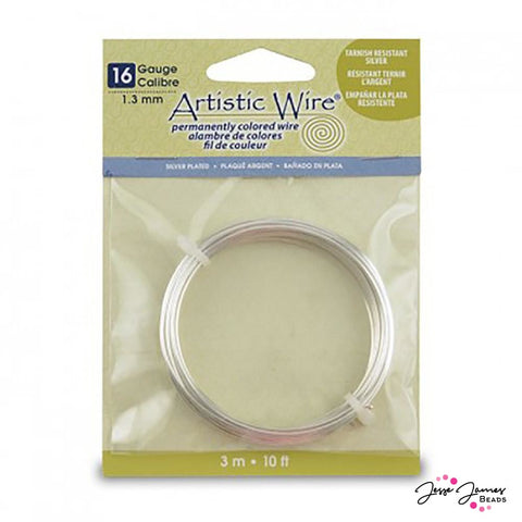 Artistic Beading Wire Tarnish Resistant Silver 16 Gauge