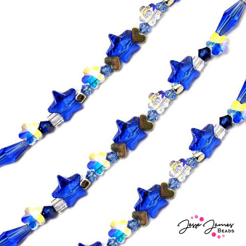 Bead Strand in Sapphire Feat Swarovski Crystals 2