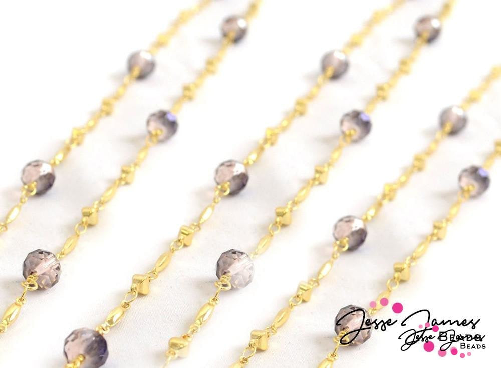 Dusty Plum Golden Beaded Chain