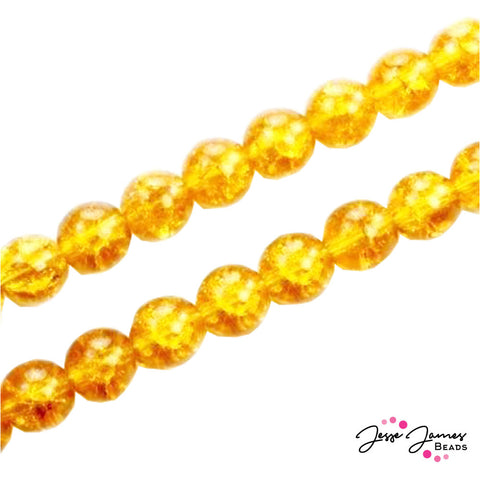 Yellow Topaz Czech Crackle 8mm 50 pieces