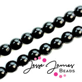 Black Jet Czech Druk Beads 8mm 50 pieces