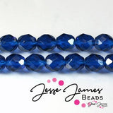 Czech Fire Polish Capri Blue Beads 8mm
