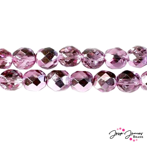Purple Lilac Czech Fire Polish Crystal Beads 8mm 50 pieces