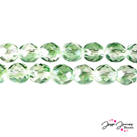 Green Mint Czech Fire Polish Crystal Beads 8mm 50 pieces