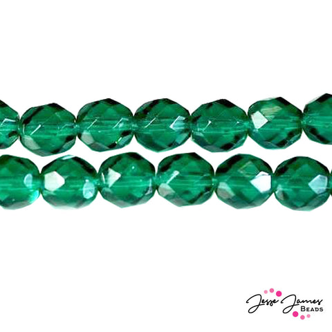 Green Emerald Czech Fire Polish Dark Beads 8mm 50 pieces