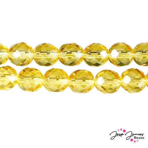 Yellow Topaz Light Czech Fire Polish Beads 8mm 50 pieces