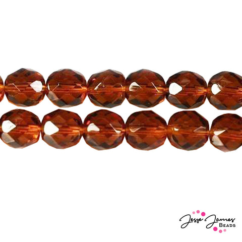 Brown Madeira Topaz Czech Fire Polish Beads 8mm 50 pieces