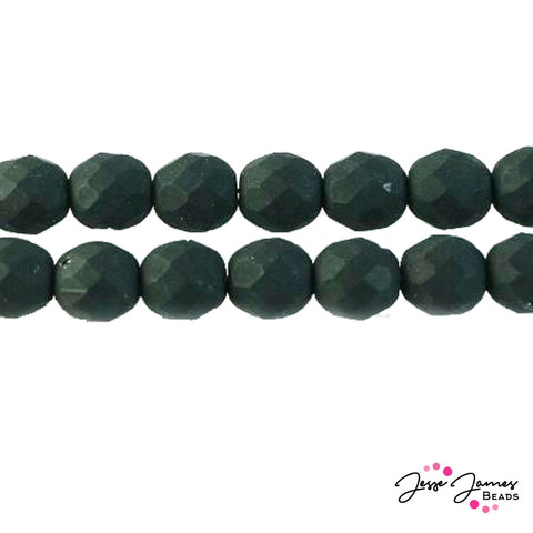 Black Czech Fire Polish Matte Beads 8mm 50 pieces