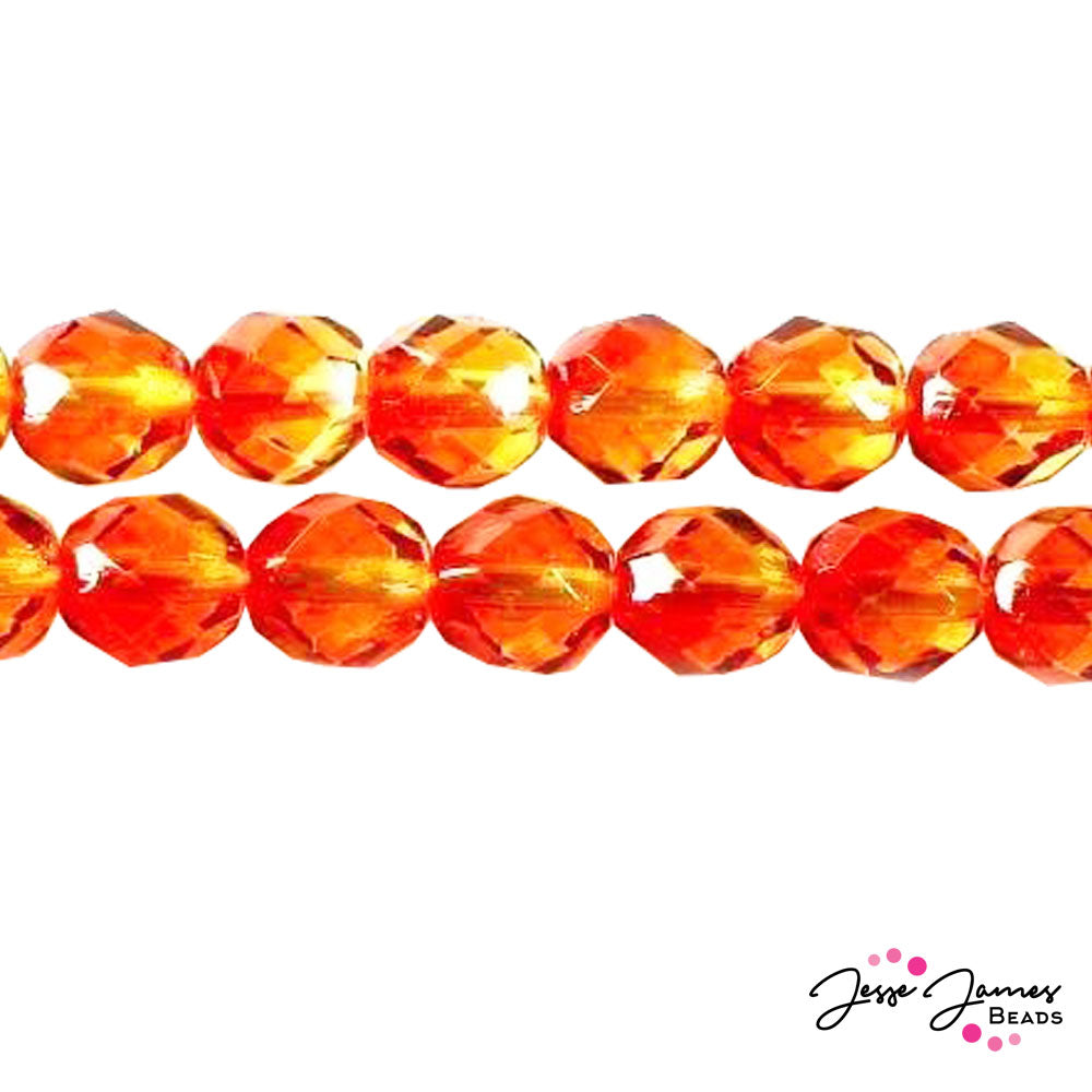Orange Yellow Czech Fire Polish Beads 8mm 50 pieces