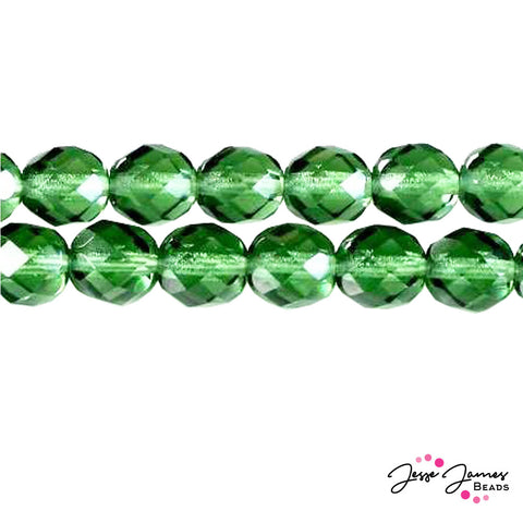 Green Tourmaline Czech Fire Polish Beads 8mm 50 pieces