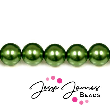 Czech Pearl Hunter Green Beads 8mm 50 pieces