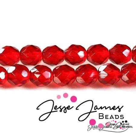 Czech Fire Polish Ruby Beads 8mm