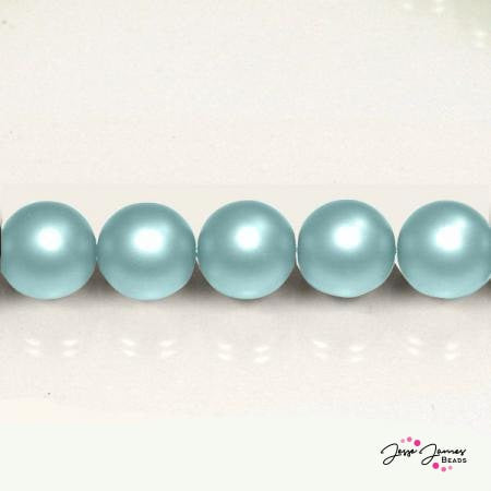 Blue Aqua Czech Pearl Beads Matte 8mm 50 pieces