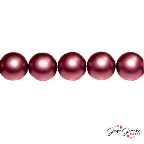 Red Garnet Czech Pearl Beads Matte 8mm 71 pieces