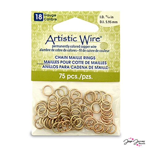 Jump Rings Artistic Wire 18g in Brass 5.56mm