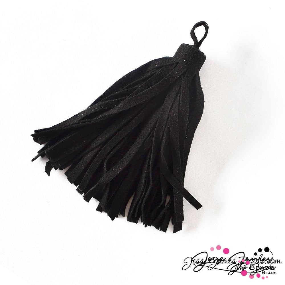 Midnight Black Large Suede Leather Tassel